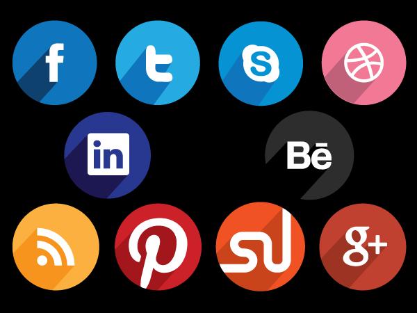 Circular Buttons, Flat Buttons, Social Media Buttons,Facebook Button