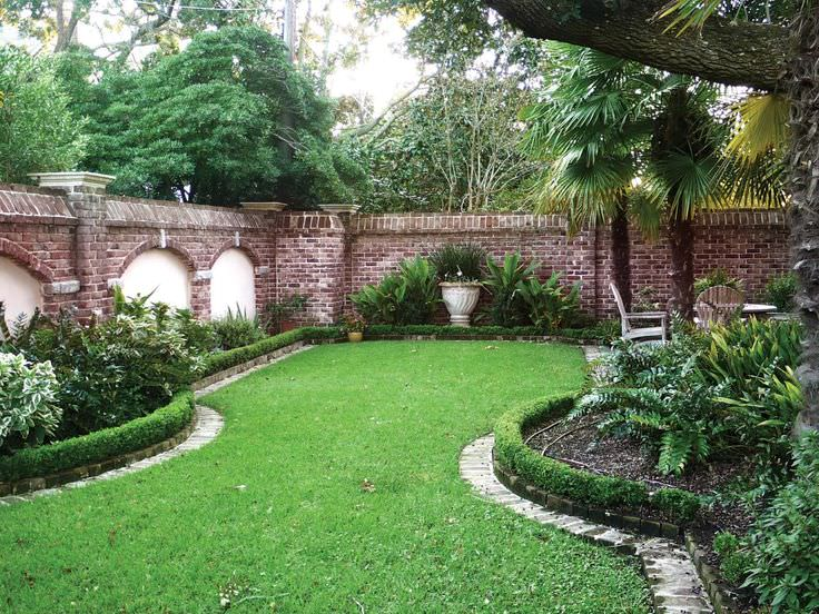 edge brick wall garden design