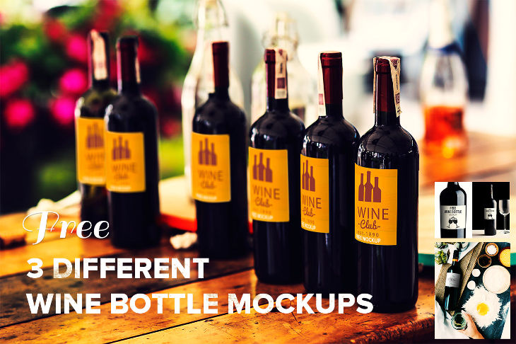 3 Photorealistic Wine Bottle PSD Mockups
