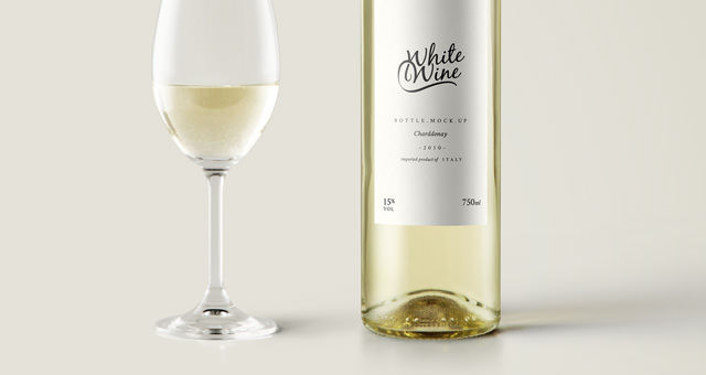 white wine bottle mock up
