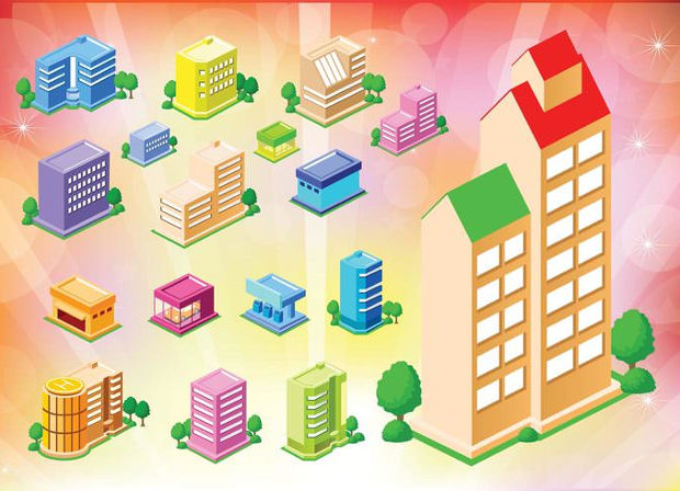Cool Buildings Vector Icons