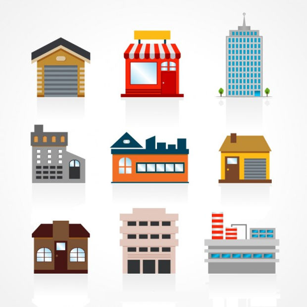 Building Set Free Vector