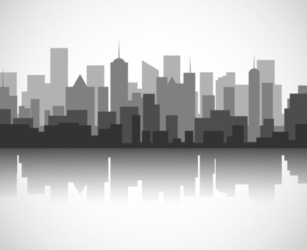 Black and White Skyline Vectors