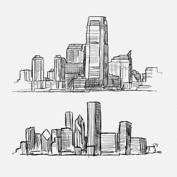 Sketchy Buildings Vector