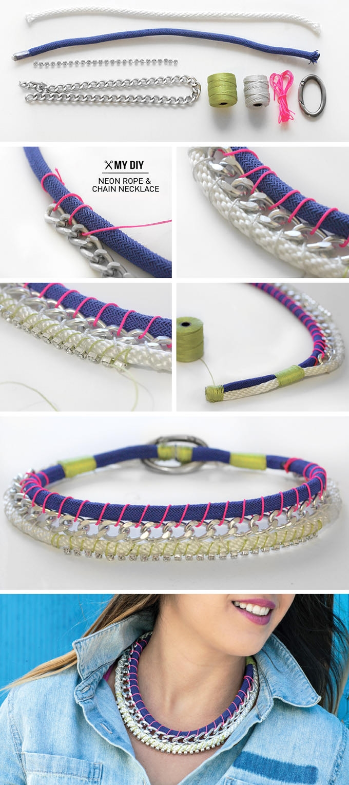 Diy Neon Rope Chain Necklace Design