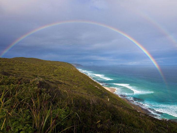 Coastal Rainbow Background