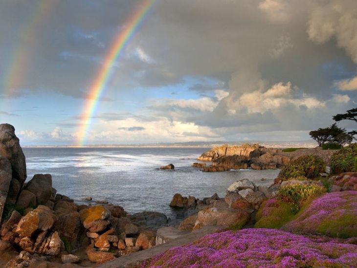 Seaside Rainbow Background