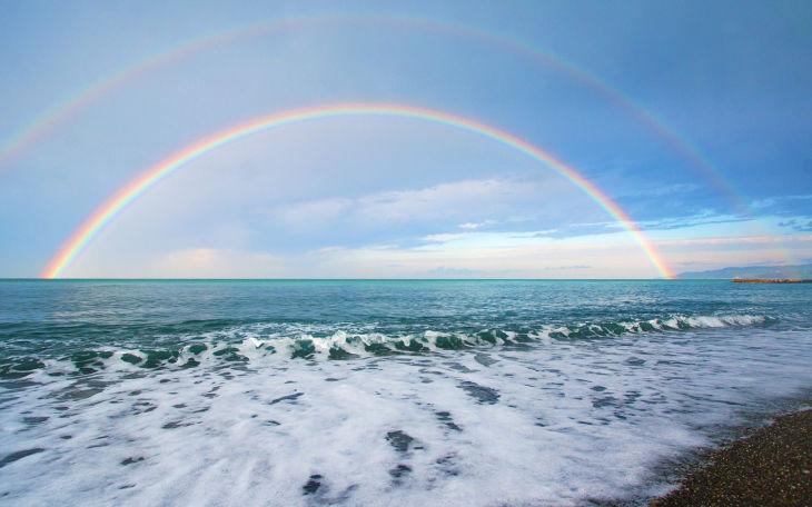 Beautiful Double Rainbow Background