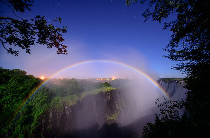rainbow at waterfalls background