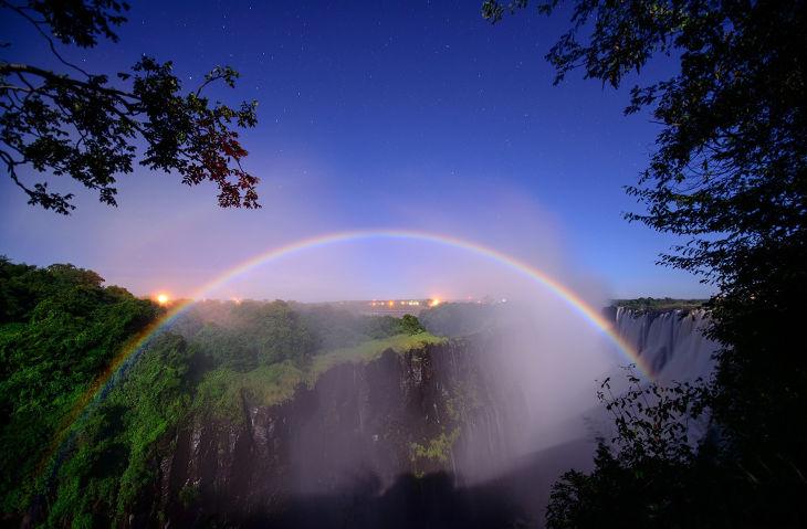 Rainbow at Waterfalls Background