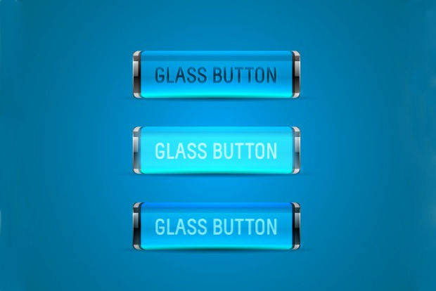 Blue Glass Button Vector