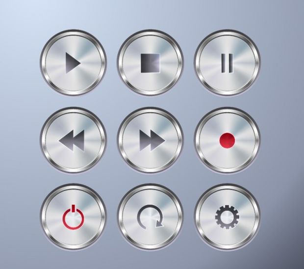 Metallic Buttons Vector