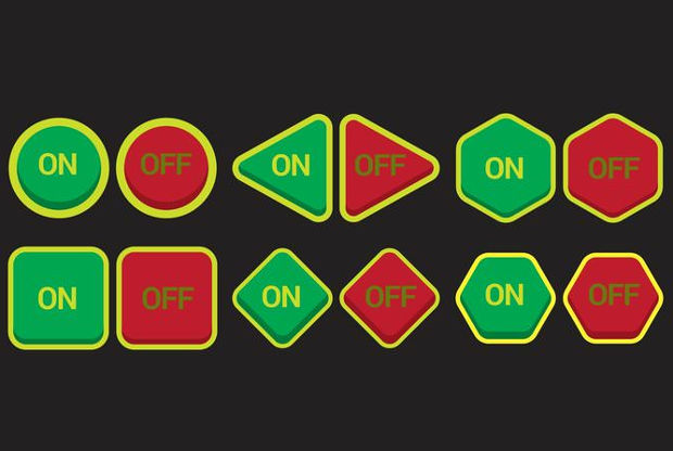 On Off Buttons Vector