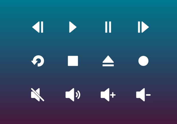 Multimedia Player Buttons Vector