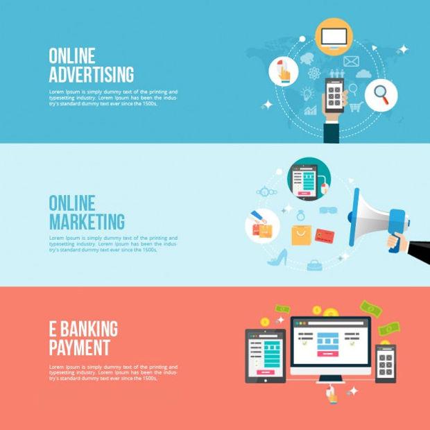 Online Business Banner Vector
