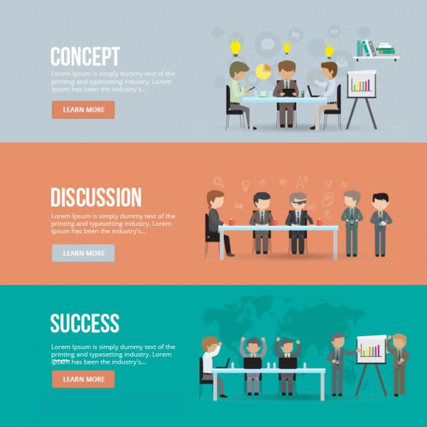 Business Meeting Banner Vector