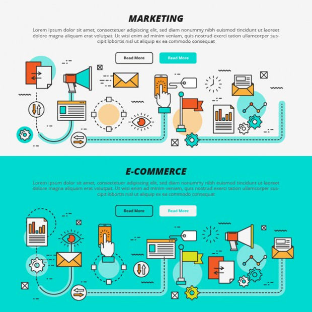 marketing and e commerce vector