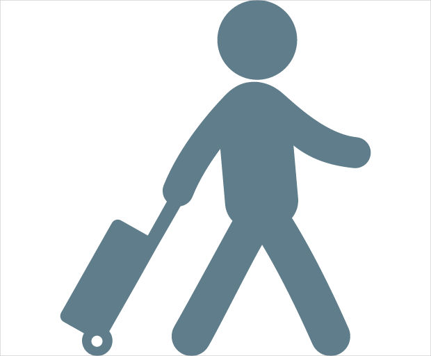 Traveler With Suitcase Icon