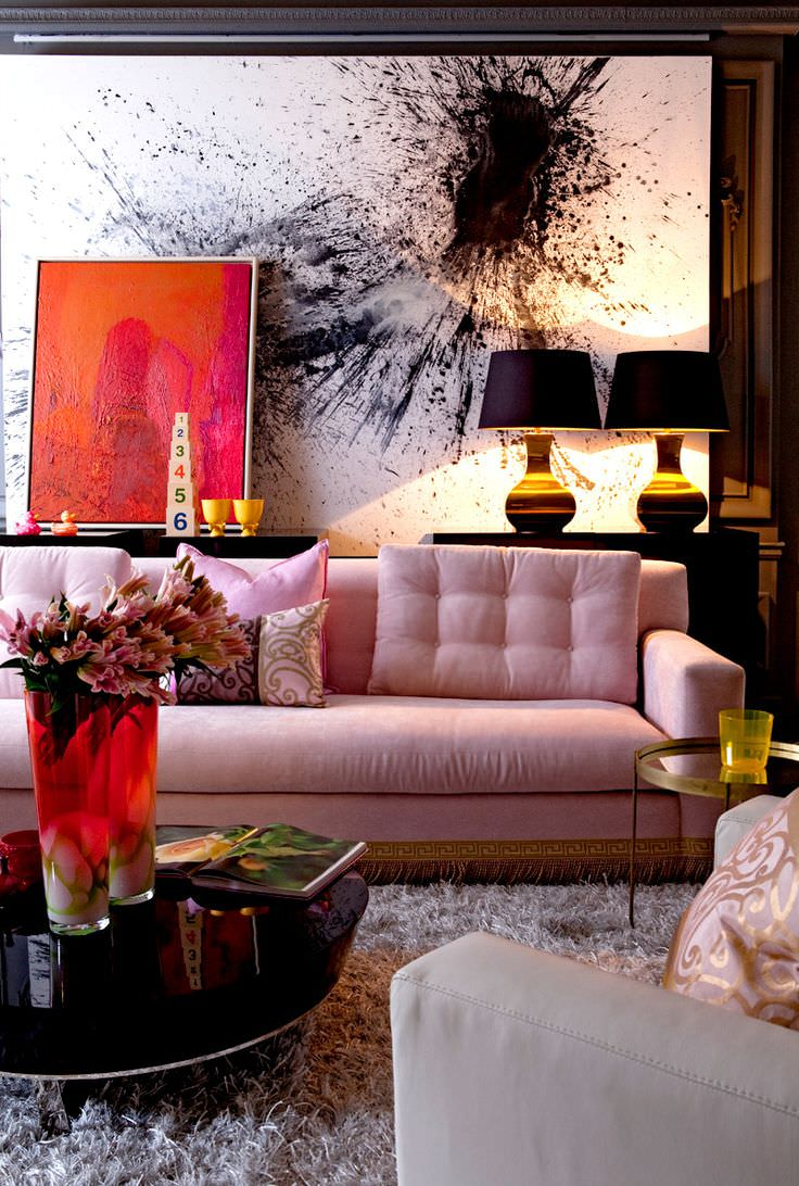 Pink sofa living room designs design trends for Living space design