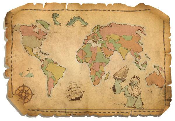 World,Map,Vectors,Vintage
