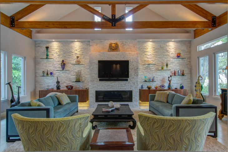 Living Room Stone Wall Idea