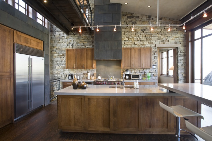 Industrial Stone Wall Kitchen