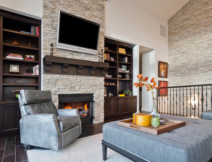Accent Stone Wall Living Room