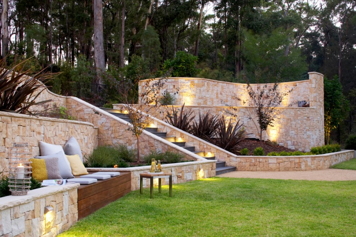 Backyard Garden with Stone Wall