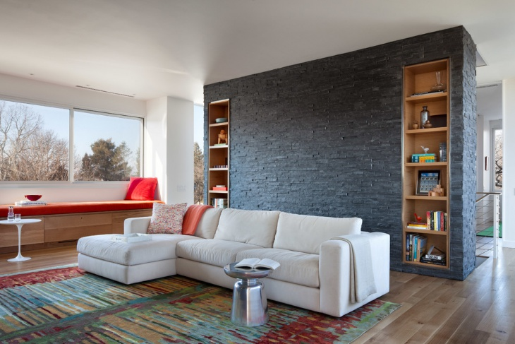 Black Stone Wall Family Room