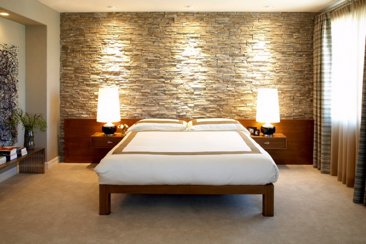 Awesome Stone Wall Bedroom