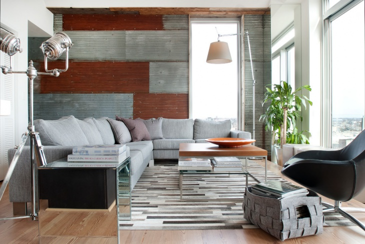 small living room with metal wall