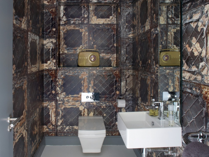 vintage metal wall bathroom