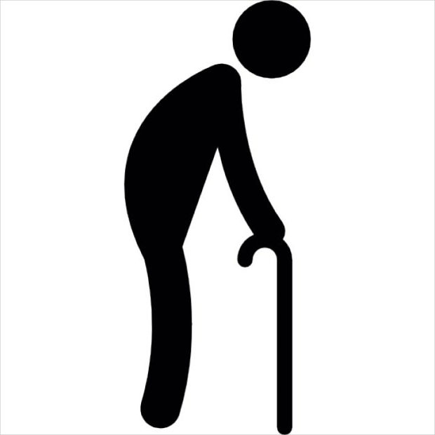 oldman with crutch icon