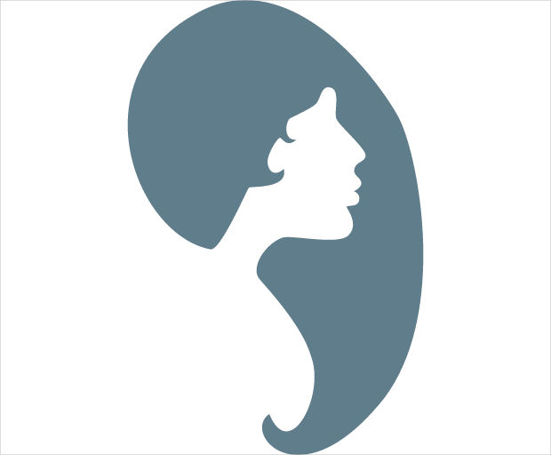 Female Hair and Face Silhouette Icon