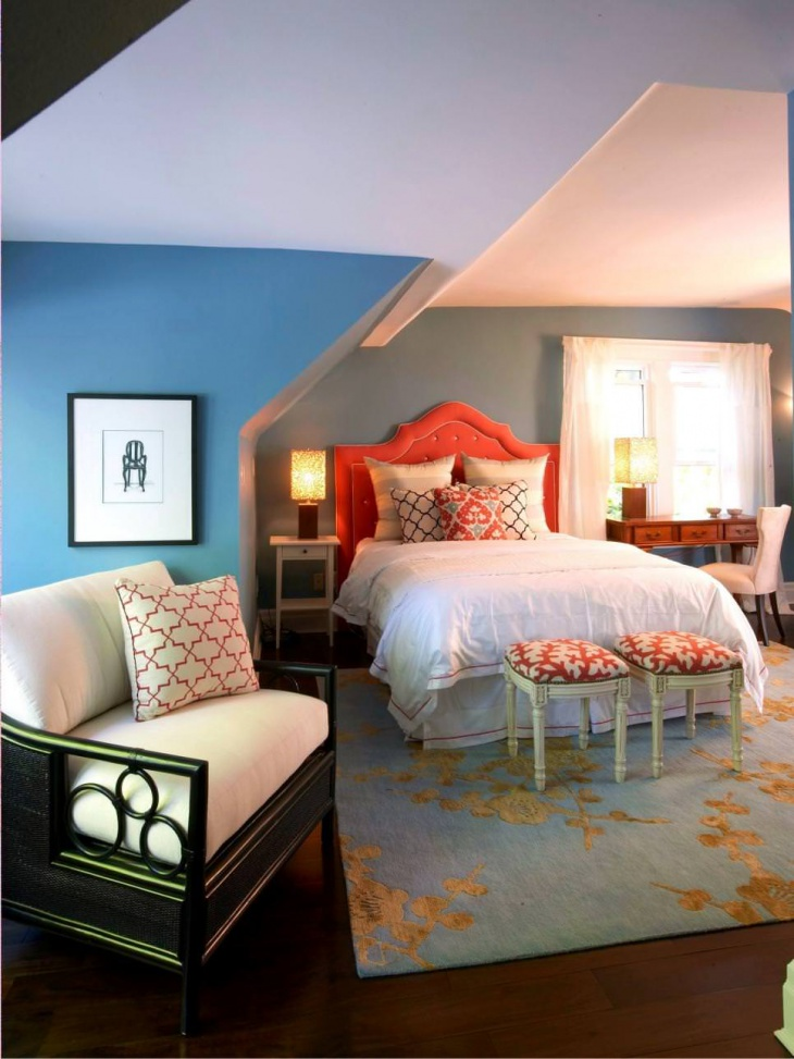 Blue and Orange Attic Bedroom Design