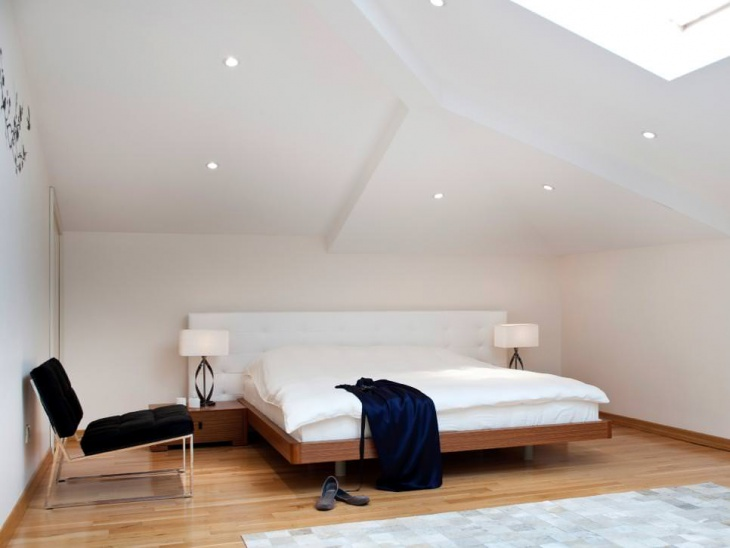 Modern Attic Bedroom With Platform Bed