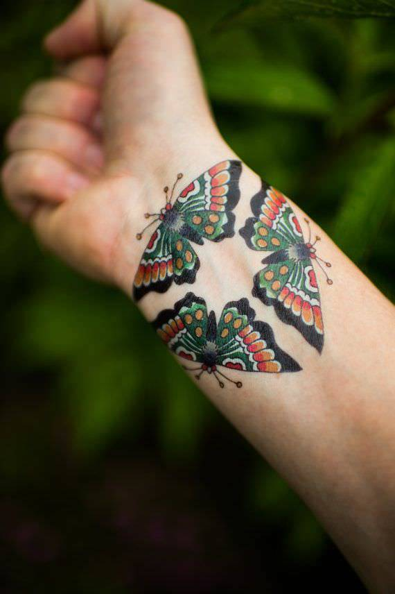 Traditional,Butterfly Tattoo,Designs,Wrist ,Colourful