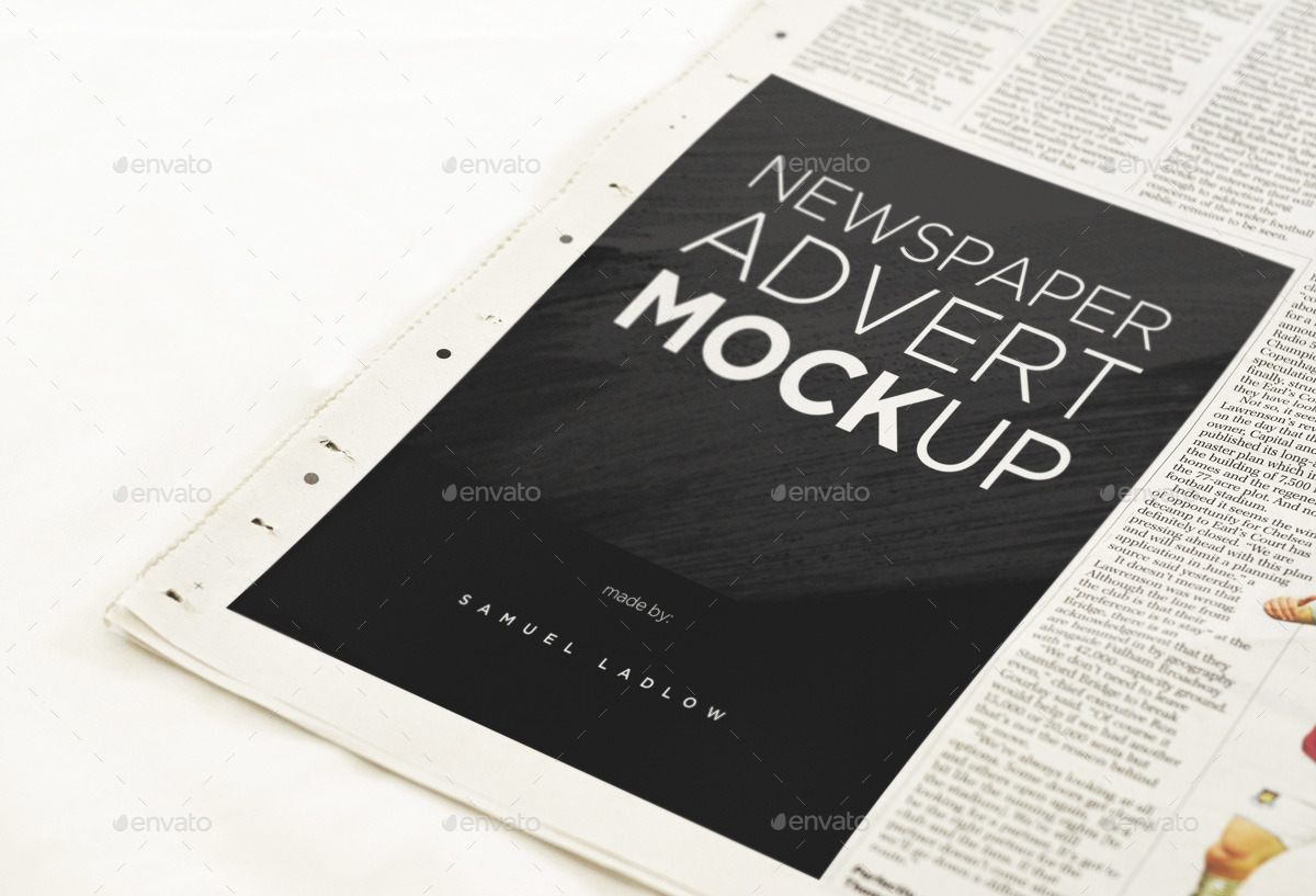 Sample Newspaper Advertising Mockup Ideas