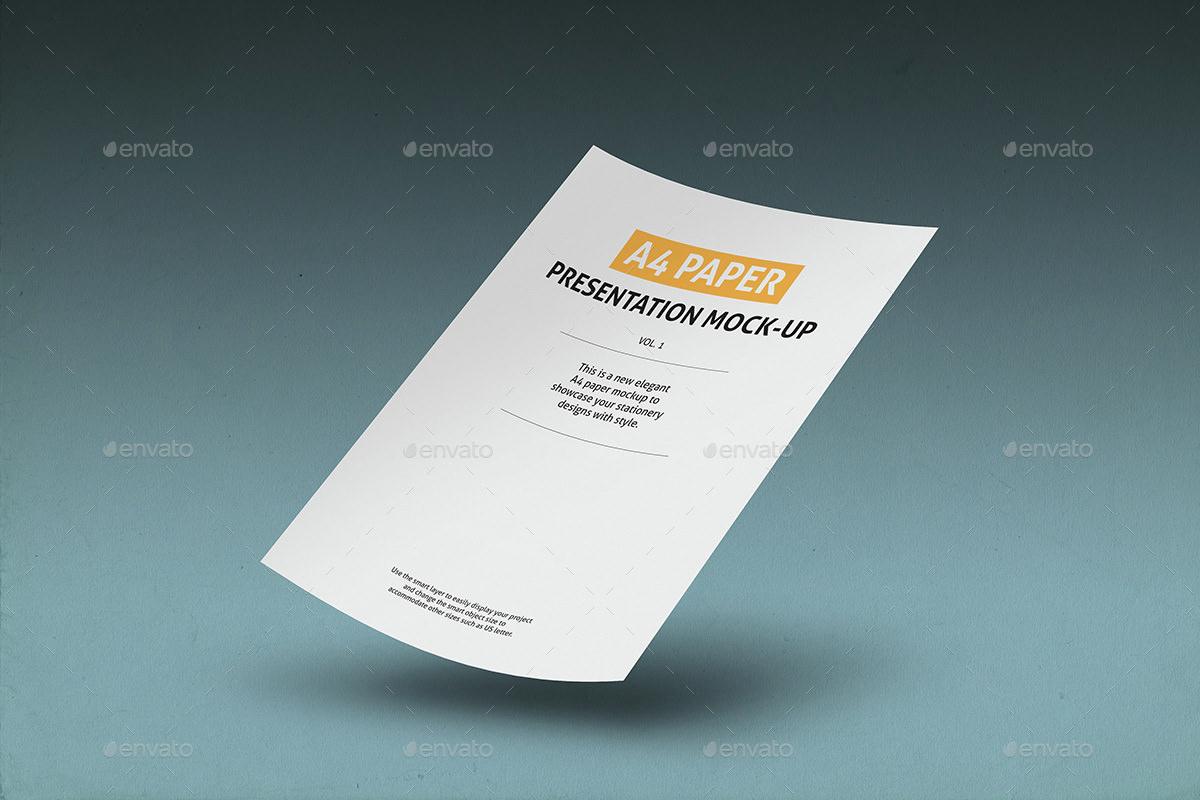 Flat A4 Paper Mockup Diplay