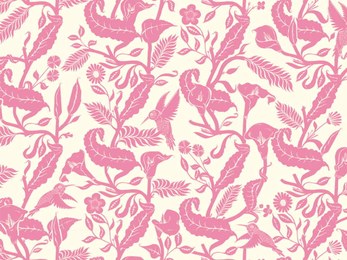 pink greenary pattern