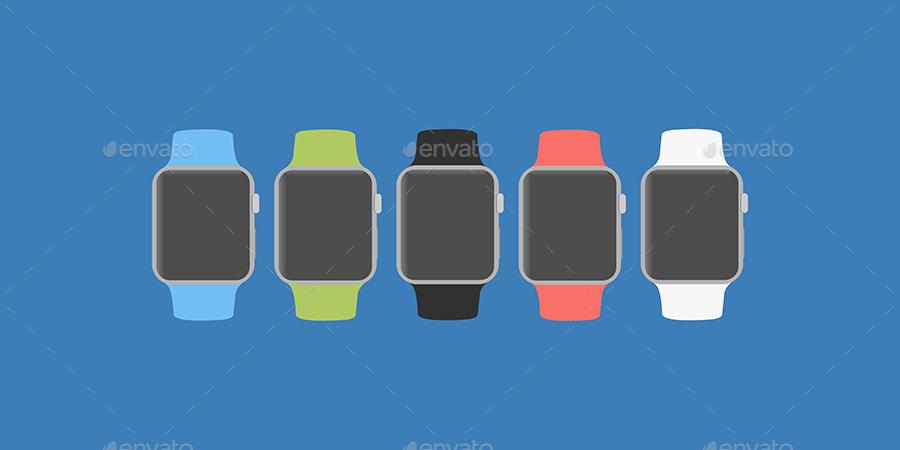 Flat Apple Watch Mockup Designs