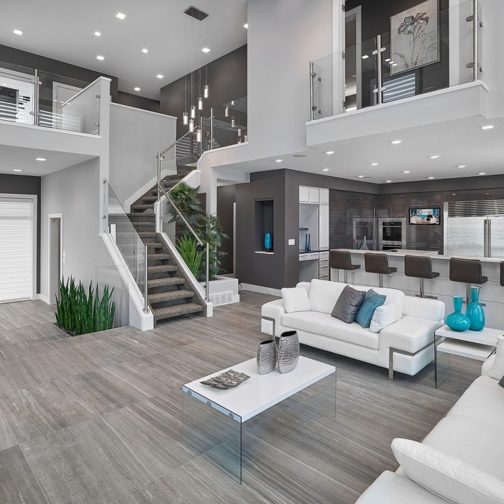 gray contemporary living room