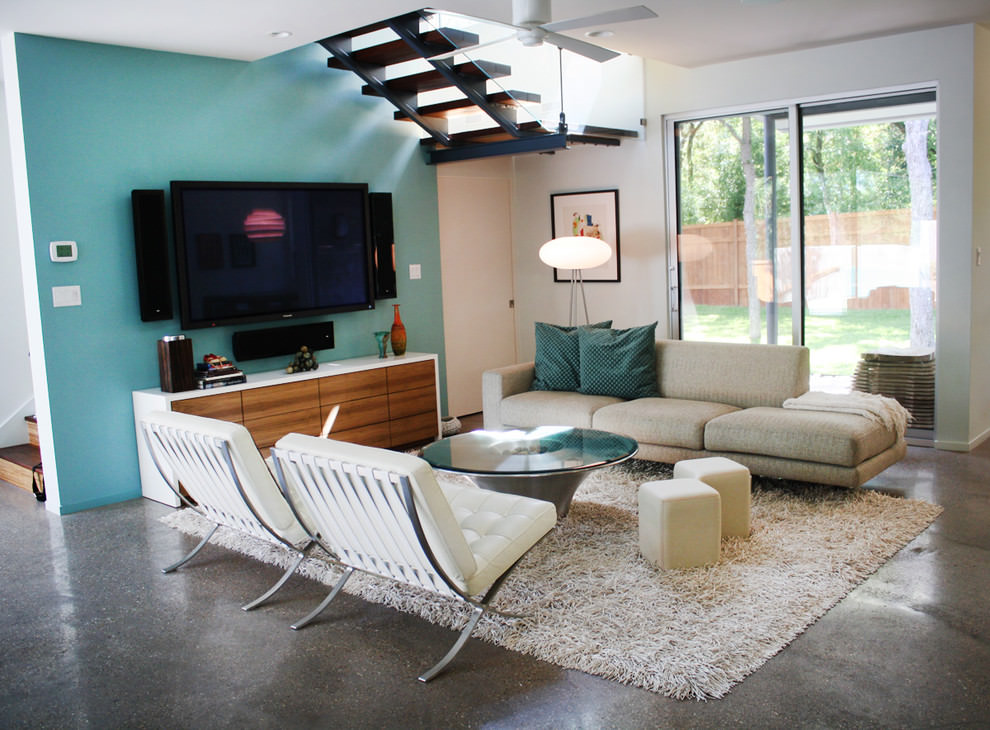 modern blue family room