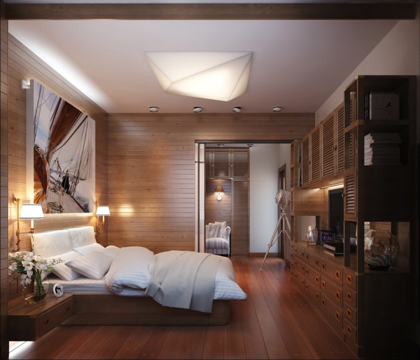 Wood Plank Bedroom With Colorful Lighting