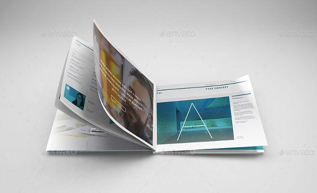 A4 Landscape Brochure PSD Mockup