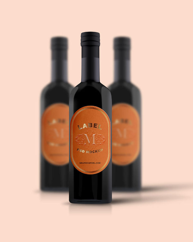 pink bottle label mockup