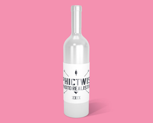 white photorealistic bottle mockup