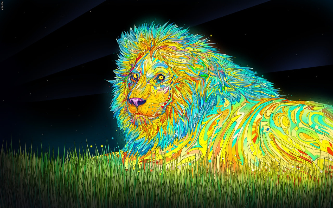 lion Trippy Background