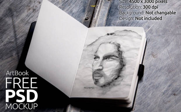 Photo Realistic Sketchbook Mockup