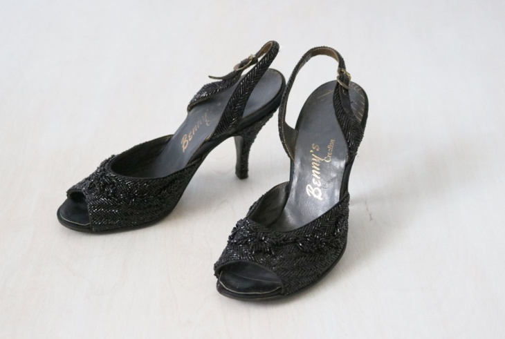 Black Beaded High Heel Shoes
